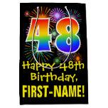 [ Thumbnail: 48th Birthday: Fun Fireworks Pattern + Rainbow 48 Gift Bag ]