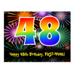 [ Thumbnail: 48th Birthday – Fun Fireworks Pattern + Rainbow 48 Postcard ]