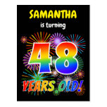 "[ Thumbnail: 48th Birthday - Fun Fireworks, Rainbow Look ""48"" Postcard ]"
