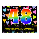 [ Thumbnail: 48th Birthday: Fun Hearts Pattern, Rainbow 48 Postcard ]