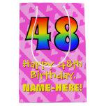 [ Thumbnail: 48th Birthday: Fun Pink Hearts Stripes; Rainbow 48 Gift Bag ]