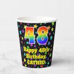 [ Thumbnail: 48th Birthday: Fun Stars Pattern and Rainbow 48 ]