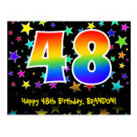 [ Thumbnail: 48th Birthday: Fun Stars Pattern, Rainbow 48, Name Postcard ]