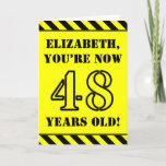 [ Thumbnail: 48th Birthday: Fun Stencil Style Text, Custom Name Card ]