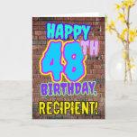 [ Thumbnail: 48th Birthday - Fun, Urban Graffiti Inspired Look Card ]