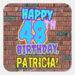 [ Thumbnail: 48th Birthday – Fun, Urban Graffiti Inspired Look Sticker ]
