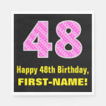 "[ Thumbnail: 48th Birthday: Pink Stripes and Hearts ""48"" + Name Napkins ]"