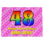 [ Thumbnail: 48th Birthday: Pink Stripes & Hearts, Rainbow # 48 Gift Bag ]
