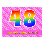 [ Thumbnail: 48th Birthday: Pink Stripes & Hearts, Rainbow 48 Postcard ]