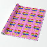 [ Thumbnail: 48th Birthday: Pink Stripes & Hearts, Rainbow # 48 Wrapping Paper ]
