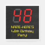"[ Thumbnail: 48th Birthday: Red Digital Clock Style ""48"" + Name Napkins ]"