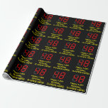 """[ Thumbnail: 48th Birthday: Red Digital Clock Style """"48"""" + Name Wrapping Paper ]"""