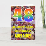 "[ Thumbnail: 48th Birthday; Rustic Autumn Leaves; Rainbow ""48"" Card ]"