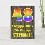 "[ Thumbnail: 48th Birthday: Rustic Faux Wood Look, Rainbow ""48"" Card ]"