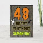 [ Thumbnail: 48th Birthday: Spooky Halloween Theme, Custom Name Card ]