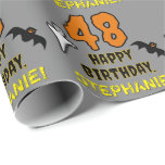 [ Thumbnail: 48th Birthday: Spooky Halloween Theme, Custom Name Wrapping Paper ]