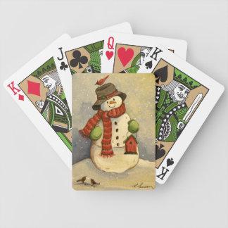 4905 navidad del muñeco de nieve y del Birdhouse Baraja De Cartas