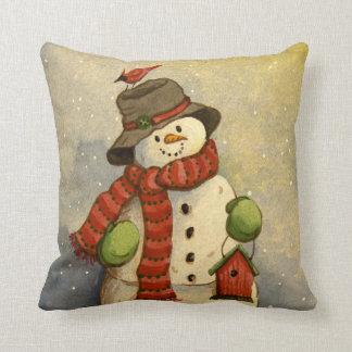 4905 navidad del muñeco de nieve y del Birdhouse Cojín