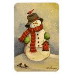 4905 navidad del muñeco de nieve y del Birdhouse Imán De Vinilo
