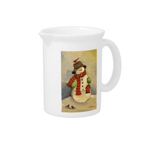 4905 navidad del muñeco de nieve y del Birdhouse Jarra Para Bebida