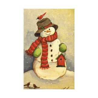 4905 navidad del muñeco de nieve y del Birdhouse Lona Estirada Galerias