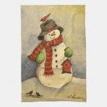4905 navidad del muñeco de nieve y del Birdhouse Toalla De Cocina