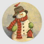 4905 navidad del muñeco de nieve y del Birdhouse Pegatina Redonda