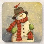 4905 navidad del muñeco de nieve y del Birdhouse Posavasos De Bebidas