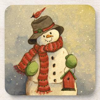 4905 navidad del muñeco de nieve y del Birdhouse Posavasos