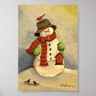 4905 Snowman & Birdhouse Christmas Art Print