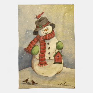 4905 Snowman & Birdhouse Christmas Hand Towel