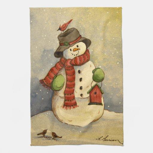 Snowman & Birdhouse Christmas Hand Towel