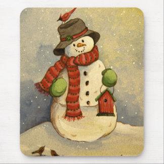 4905 Snowman & Birdhouse Christmas Mouse Pad
