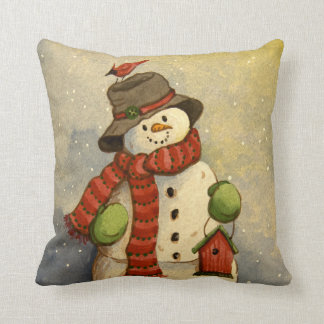 4905 Snowman & Birdhouse Christmas Throw Pillow