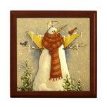 4907 ángel de la nieve y navidad de los pájaros caja de recuerdo