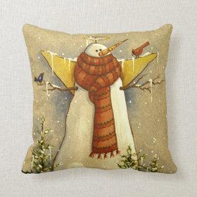 4907 Snow Angel & Birds Christmas Pillow