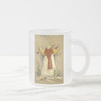 4907 Snow Angel & Birds Frosted Glass Coffee Mug