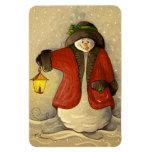 4910 Snowman & Lantern Christmas Rectangular Magnet
