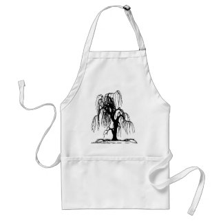 4920 SCARY WEEPING WILLOW TREE BLACK SILHOUETTE GR APRONS