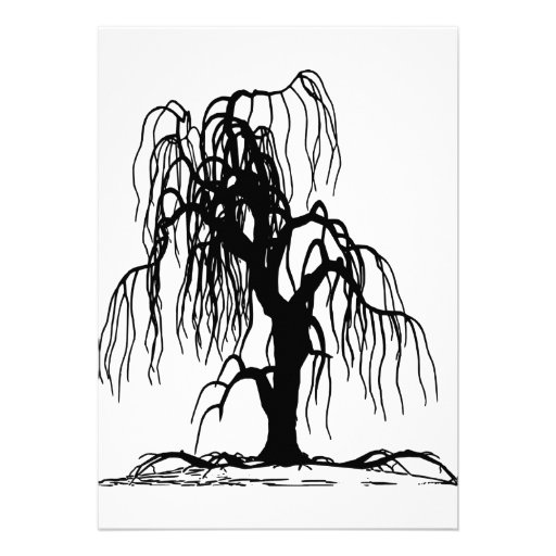 4920 SCARY WEEPING WILLOW TREE BLACK SILHOUETTE GR PERSONALIZED INVITATION