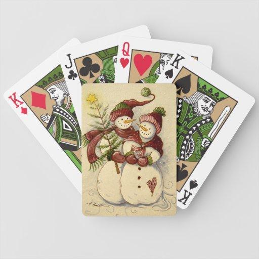 4924 navidad de los muñecos de nieve barajas de cartas