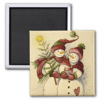 4924 Snowmen Christmas 2 Inch Square Magnet