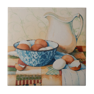 4925 Eggs in Enamelware Bowl with Pitcher Ceramic Tile