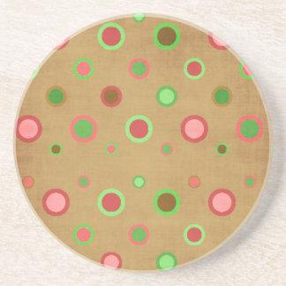 _496_circles-paper POLKADOT PATTERN PINKS GREENS Drink Coaster