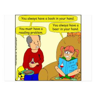 499 reading problem cartoon postcard