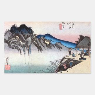 49. 坂下宿, 広重 Sakashita-juku, Hiroshige, Ukiyo-e Rectangular Stickers