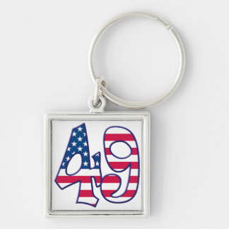 49 Age USA Silver-Colored Square Keychain