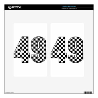 49 checkered number decal for kindle fire