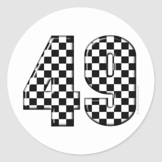 49 checkered number classic round sticker