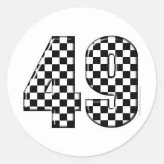 49 checkered number round sticker